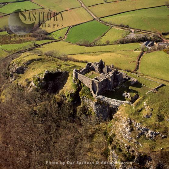Carreg Cennen Castle, On A Limestone Precipice, Near The River Cennen, Trap, Within Brecon Beacons National Park, Carmarthenshire, Wales
