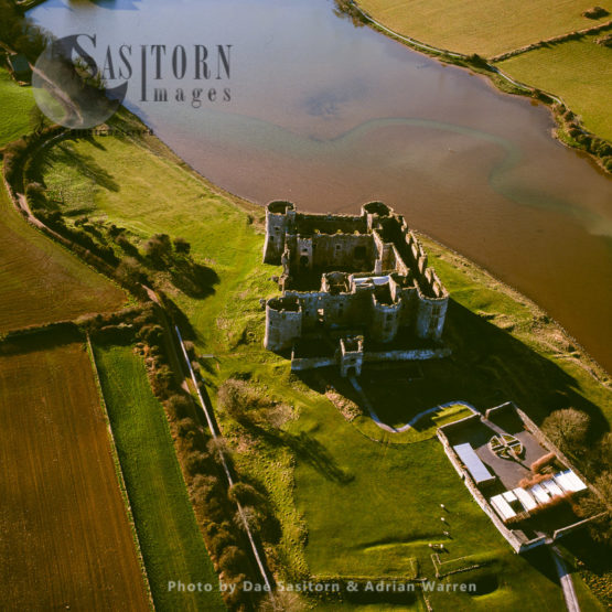 Carew Castle, On An Inlet Of The Carew River, Constructed Almost Entirely From The Local Carboniferous Limestone, Carew In Pembrokeshire, South Wales