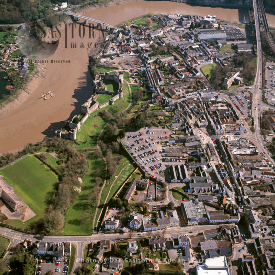 Chepstow Town And Chepstow Castle, Located Above Cliffs On The River Wye, Monmouthshire, South Wales