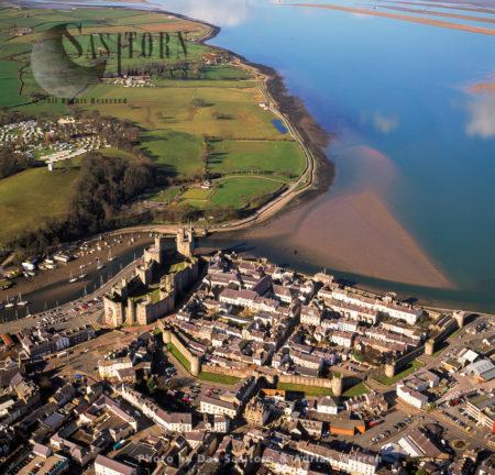 Caernarfon Castle (Carnarvon Castle), A Medieval Fortress In Caernarfon, On The Mouth Of The River Seiont, Gwynedd, North-west Wales