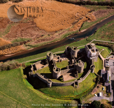 Kidwelly Castle, A Norman Castle Overlooking The River Gwendraeth And The Town Of Kidwelly, Carmarthenshire, South Wales