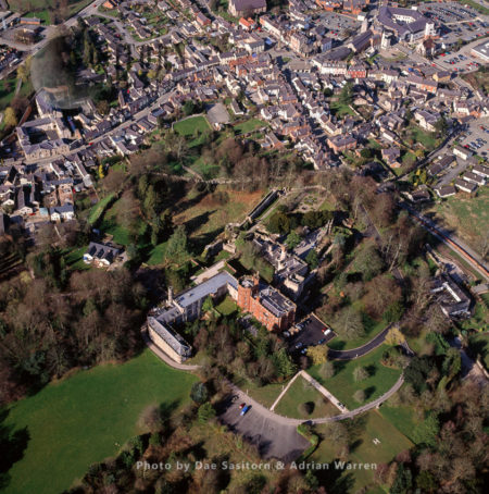 Ruthin Castle, A Medieval Castle Fortification, On A Red Sandstone Ridge Overlooking The Vale Of Clwyd, Ruthin, North Wales