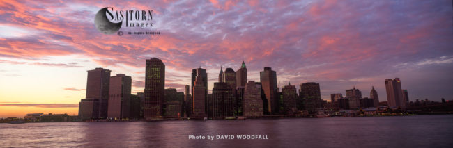 Manhattan Skyline At Sunset, Looking West Across The East River, New York, USA