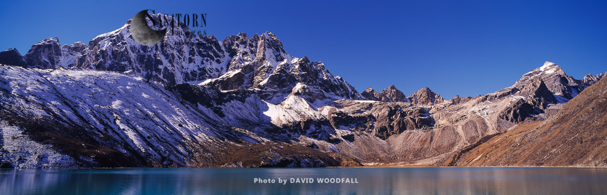 Dudh Pokhari Lake and mountain range, Gokyo, Sagamartha National Park, Himalayas, Nepal