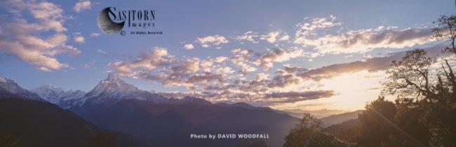 Machupucharre Peak At Dawn, Fishtail Mountain, Annapurna Conservation Area, Himalayas, Nepal