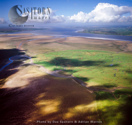 Mudflat On The River Esk Entering Solway Firth, Near Gretna, England And Scotland Border