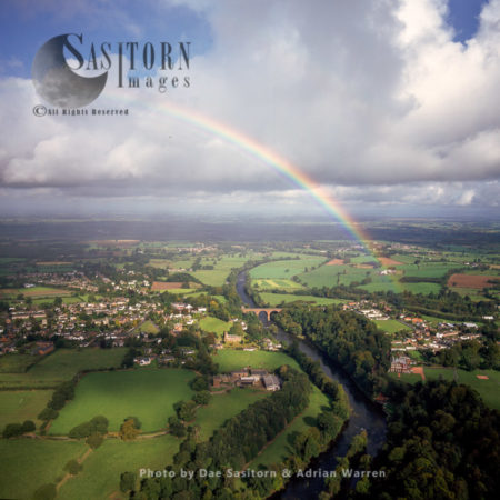 Wetheral, Village With Rainbow, Cumbria