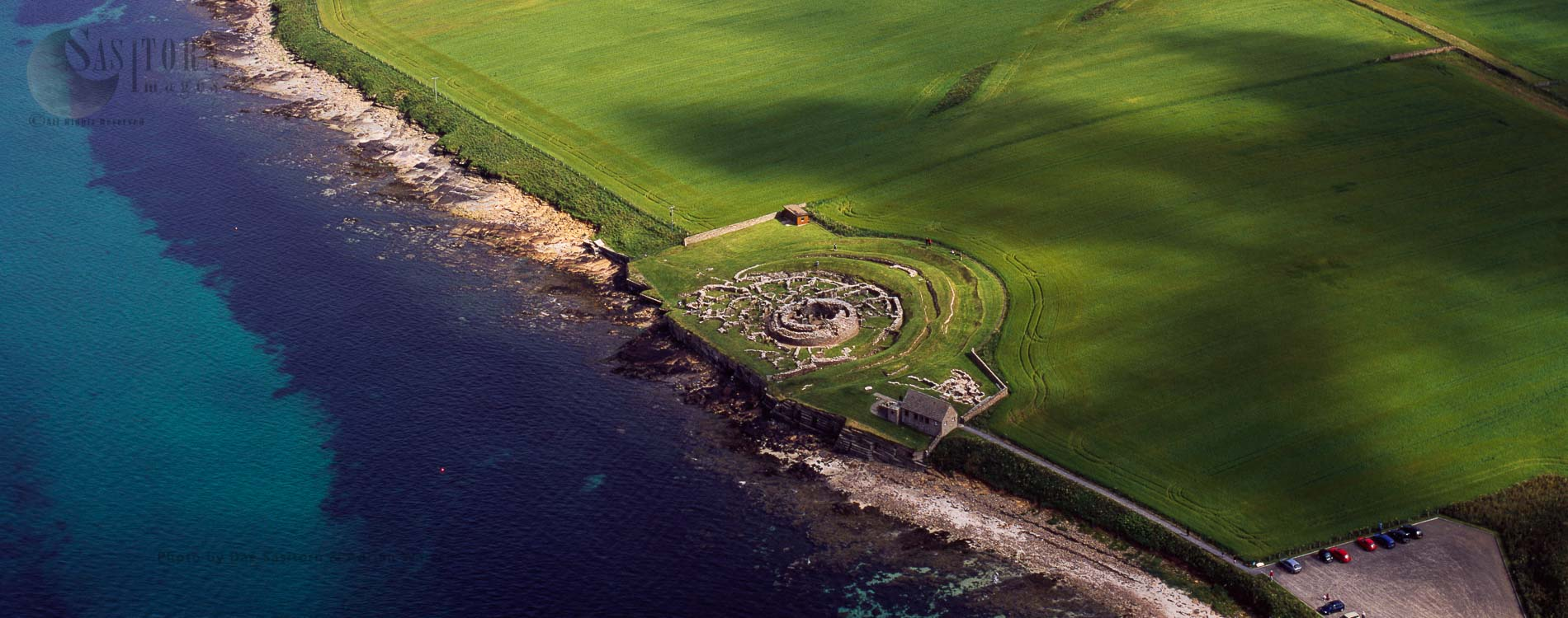 Broch of Gurness, an Iron Age 'broch village' on the northwest coast of Mainland Orkney, Scotland