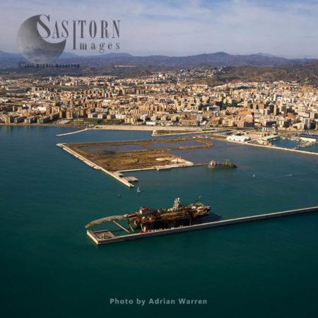 The Port Of Malaga, An International Seaport, Malaga, Southern Spain