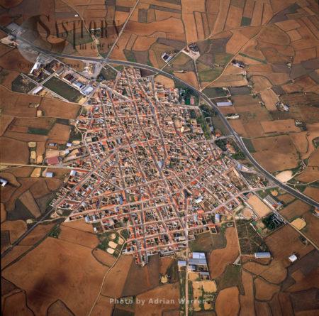 Aerial Image Of Minaya, Albacete, Castile-La Mancha, Central Spain