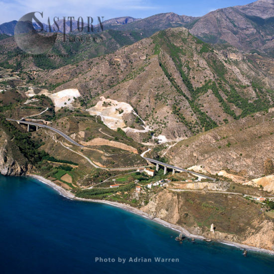 Coastline With Roads And Bridges, East Of Nerja, Sierra Nevada National Park, Southern Spain