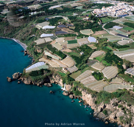 Greenhouses South Of Maro Withh Cascada Waterfall, Southern Spain
