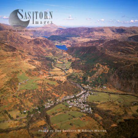 Beddgelert With Lake Llyn Dinas In Distance, Snowdonia, Gwynedd, Wales