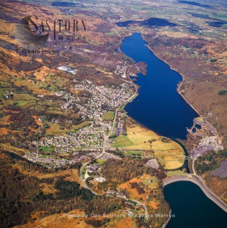 Llanberis, Village In Gwynedd, Northwest Wales, On The Southern Bank Of The Lake Llyn Padarn And At The Foot Of Snowdon, The Highest Mountain In Wales