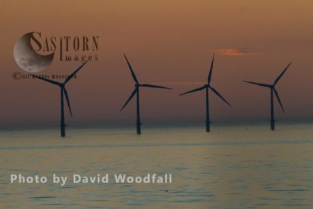 Wind Turbines, Off The North Wales Coast, Generating Sustainable Energy.