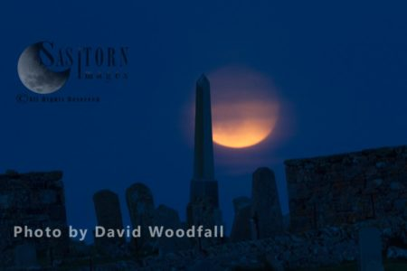 Full Moon And Obelisk Commemorating Famous Bard In Cemetery Of Balranald Nature Reserve ( RSPB) -Berneray, North Uist, Outer Hebrides