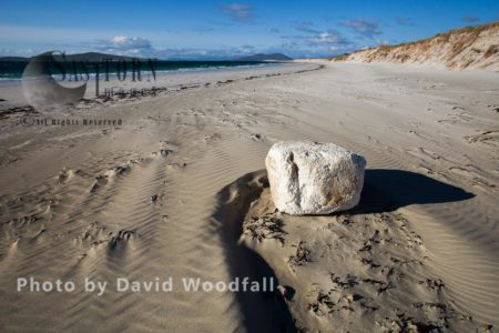 White Foam Block Washed Up On West Facing Beach, Rubbish Deposited By Atlantic Ocean,  Berneray, North Uist, Outer Hebrides