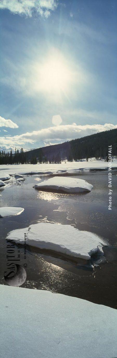 Melting Ice, Indian Creek, Yelowstone National Park, Wyoming, USA