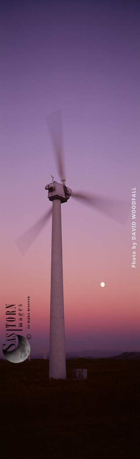 Wind Turbine at sunset with the moon