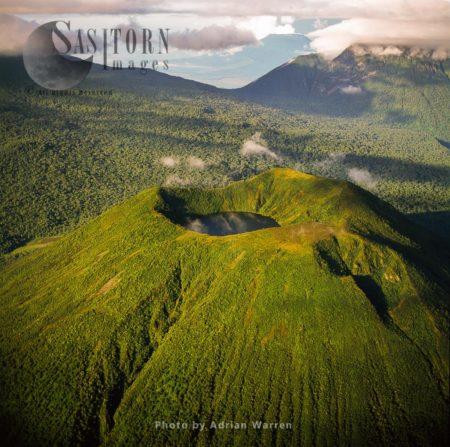 Mount Visoke (or Bisoke), An Extinct Volcano, Border Of Rwanda And The Democratic Republic Of The Congo (DRC)) With Mount Mikeno In Background, Virunga Volcanoes (mountains)
