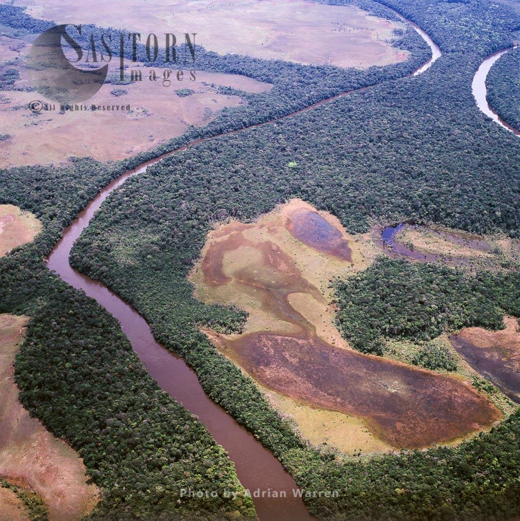 Aerial image of  Caroni River, Tepuis, Canaima National Park, Venezuela