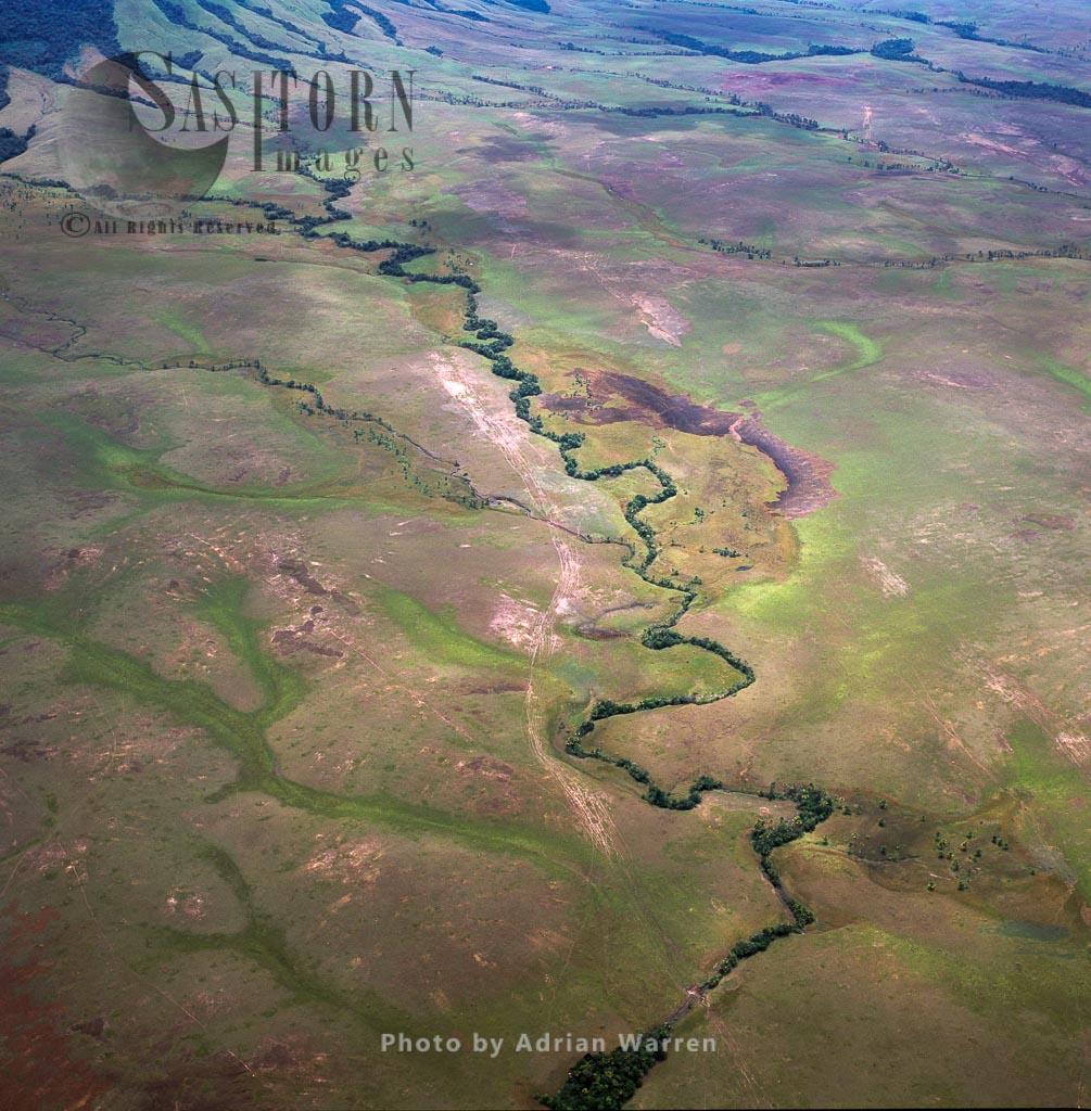 Aerial image of Yunek River, Gran Sabana, Tepuis, Canaima National Park, Estado Bolivar, Venezuela