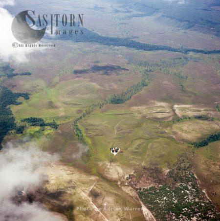 Aerial View Of Pemón Settlement On Gran Sabana, Tepuis, Canaima National Park, Venezuela