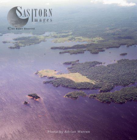 Aerial View Of Guri Reservoir, The Largest Reservoir In Venezuela, Created By The Guri Dam, Tepuis, Venezuela