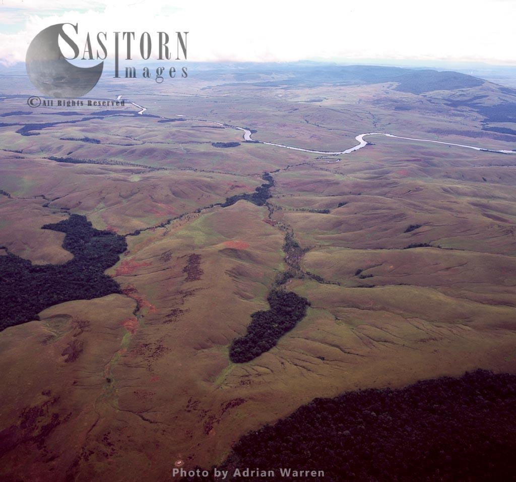 Aerial view of Gran Sabana and Kukenan River, Tepuis, Canaima National Park, Venezuela,
