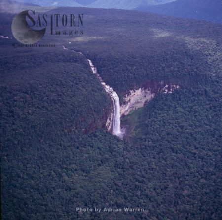 Aerial View Of Waterfall On Slopes Of Auyantepui, Tepuis, Canaima National Park, Venezuela