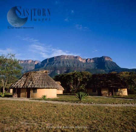 Traditional Village Of Uruyen With Auyantepui, Canaima National Park, Venezuela