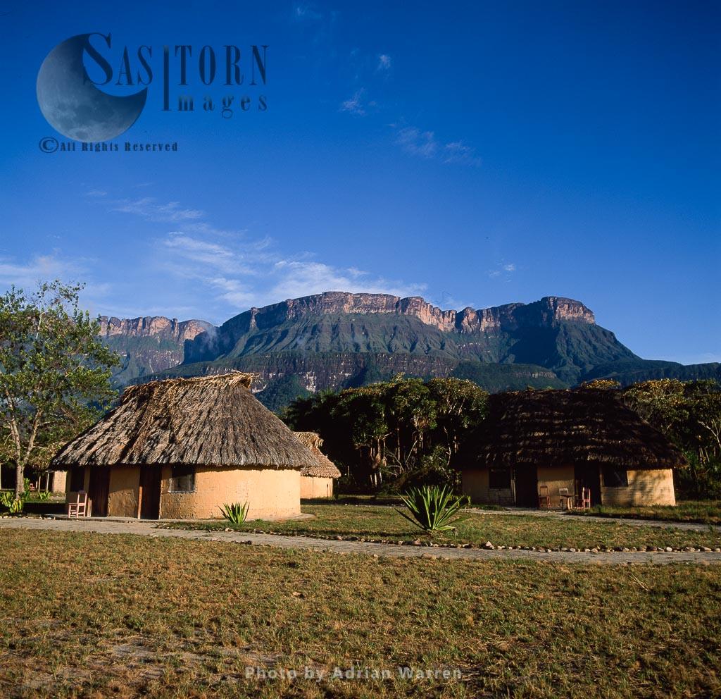 Indigenous village of Uruyen, in front of Auyantepui, Canaima National Park, Venezuela