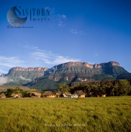 Indigenous Village Of Uruyen, In Front Of Auyantepui, Canaima National Park, Venezuela