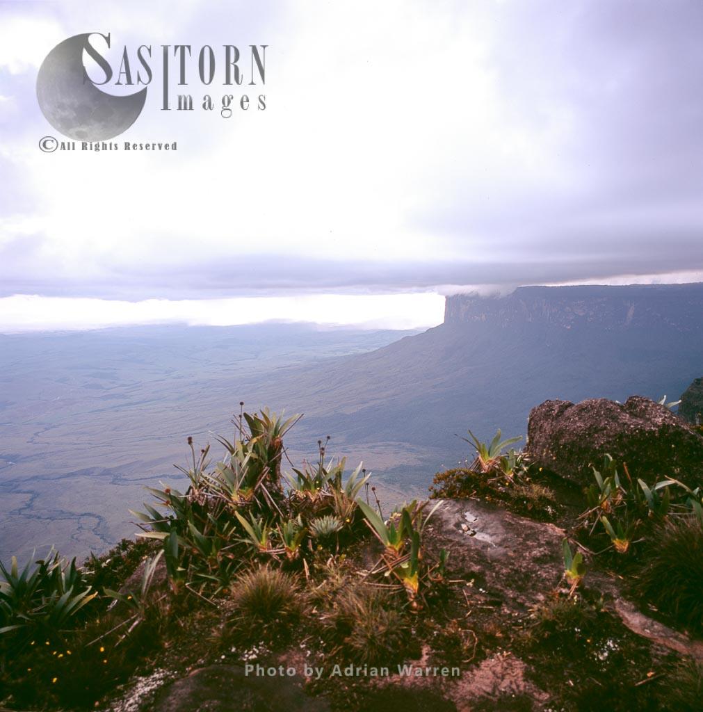 View from Roraima summit, looking towards Kukenan from 'the car', Tepuis, Venezuela