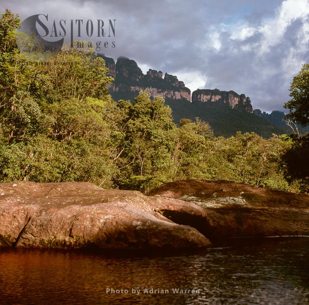 View of Auyantepui, from the Churun River, Tepuis, Canaima National Park, Venezuela
