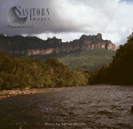 View Of Auyantepui, From The Churun River, Tepuis, Canaima National Park, Venezuela