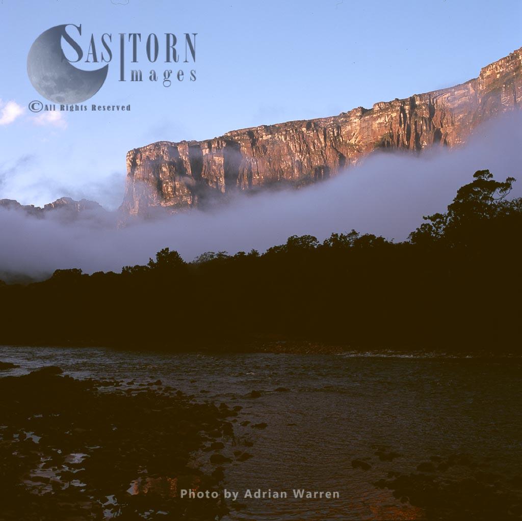 View of Auyantepui at dawn from Churun River, Tepuis, Canaima National Park, Venezuela
