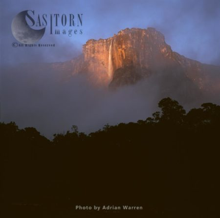 View Of The Angel Falls And Auyantepui At Dawn From Churun River, Tepuis, Canaima National Park, Venezuela,