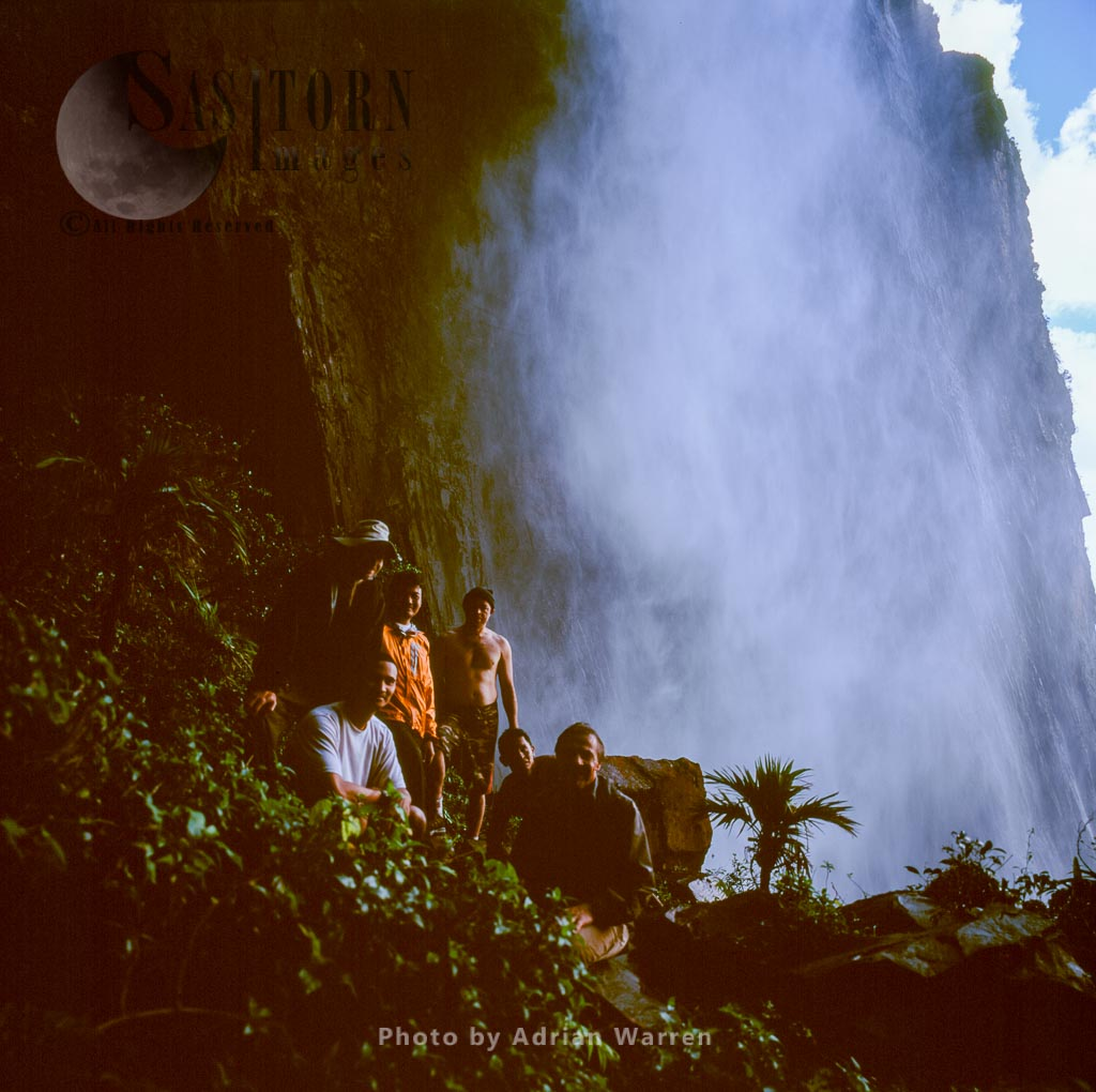 Pixar team at base of the Angel Falls from its base, Tepuis, Canaima National Park, Venezuela