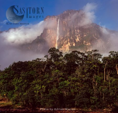 Angel Falls And Auyantepui At Dawn From Churun River, Tepuis, Canaima National Park, Estado Bolivar, Venezuela