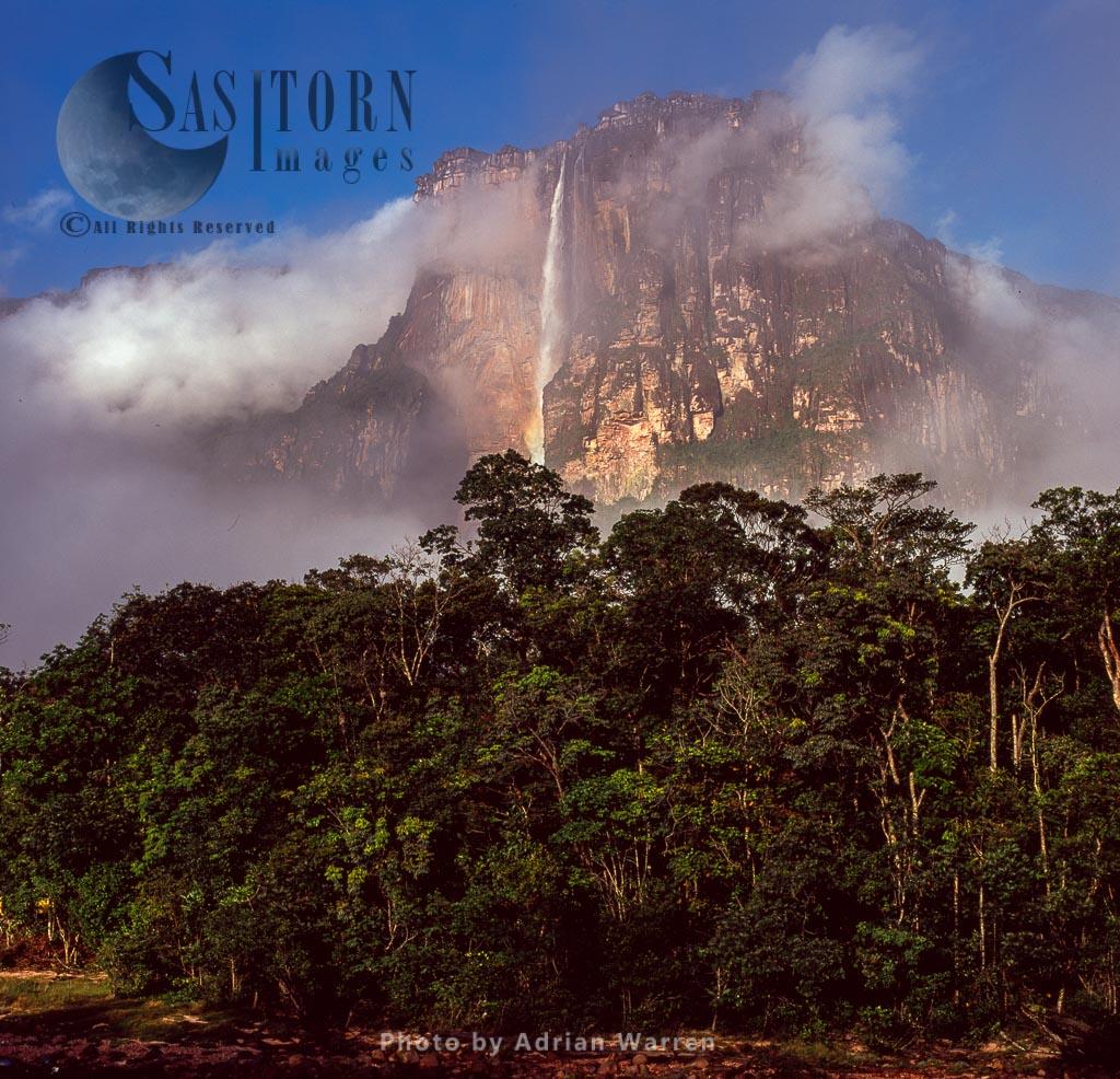 Angel Falls and Auyantepui at dawn from Churun River, Tepuis, Canaima National Park, Estado Bolivar, Venezuela