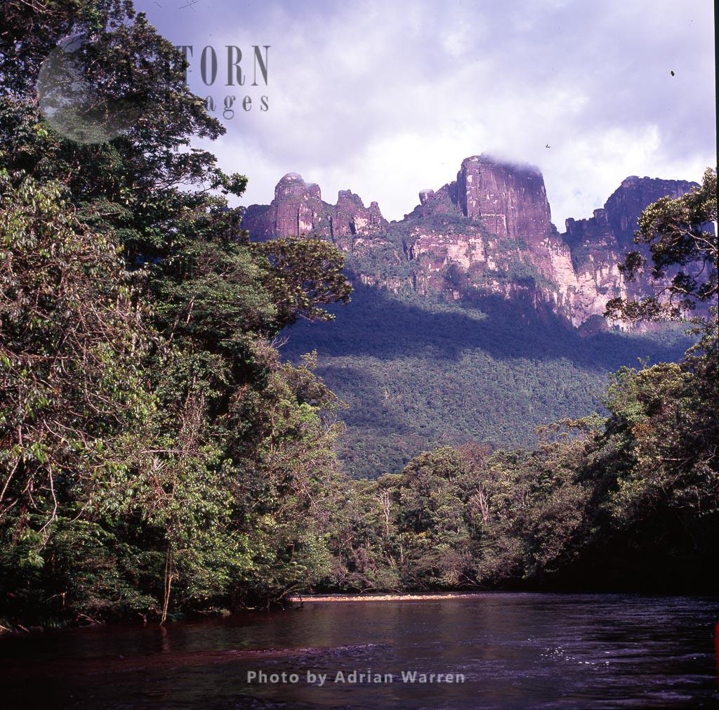 Auyantepui From Churun River, Tepuis, Canaima National Park, Estado Bolivar, Venezuela
