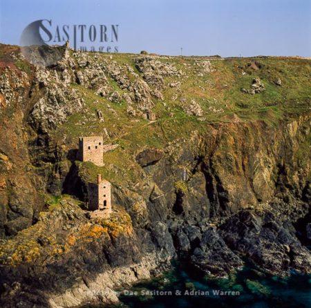 Botallack Head, Tin Mine Chimney Ruins On Cliff, Cape Cornwall, Cornwall