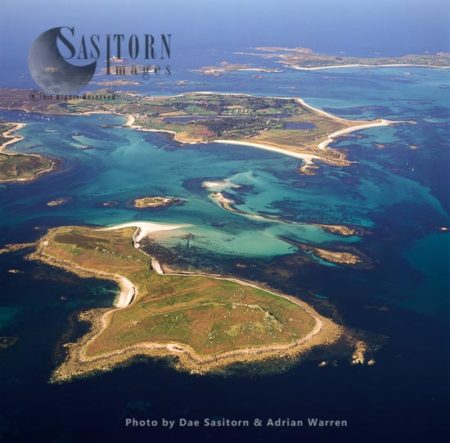 Samson Wih Tresco Across The Water, Isles Of Scilly