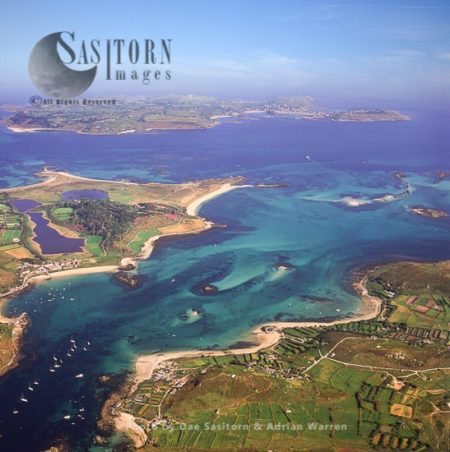 Tresco, Bryher And St Mary's In Distance, Isles Of Scilly, An Archipelago Off The Cornish Coast, Southwest England