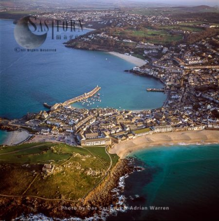 St. Ives, With The Island And St Nicholas Chapel In Foreground, Cornwall