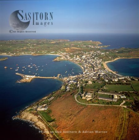 St Mary's Showing Its Garrison Walls, Hugh Town And Its Harbour,  The Isles Of Scilly, Southwest Englan