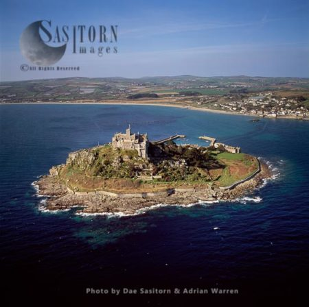 St. Michael's Mount With Its Castle And Chapel, Marazion, Cornwall, England