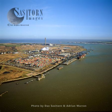 Thamesport Terminal And BP Oil Refinery, Isle Of Grains At Estuary Of The River Thames, Kent,