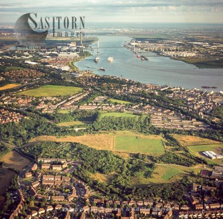 Swanscombe And Greenhithe Looking West Over The Estuary Of The River Thames With Dartford Crossing In Distance, Kent